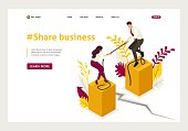 Isometric conflict of partners and disagreements in business. Website Template Landing page.