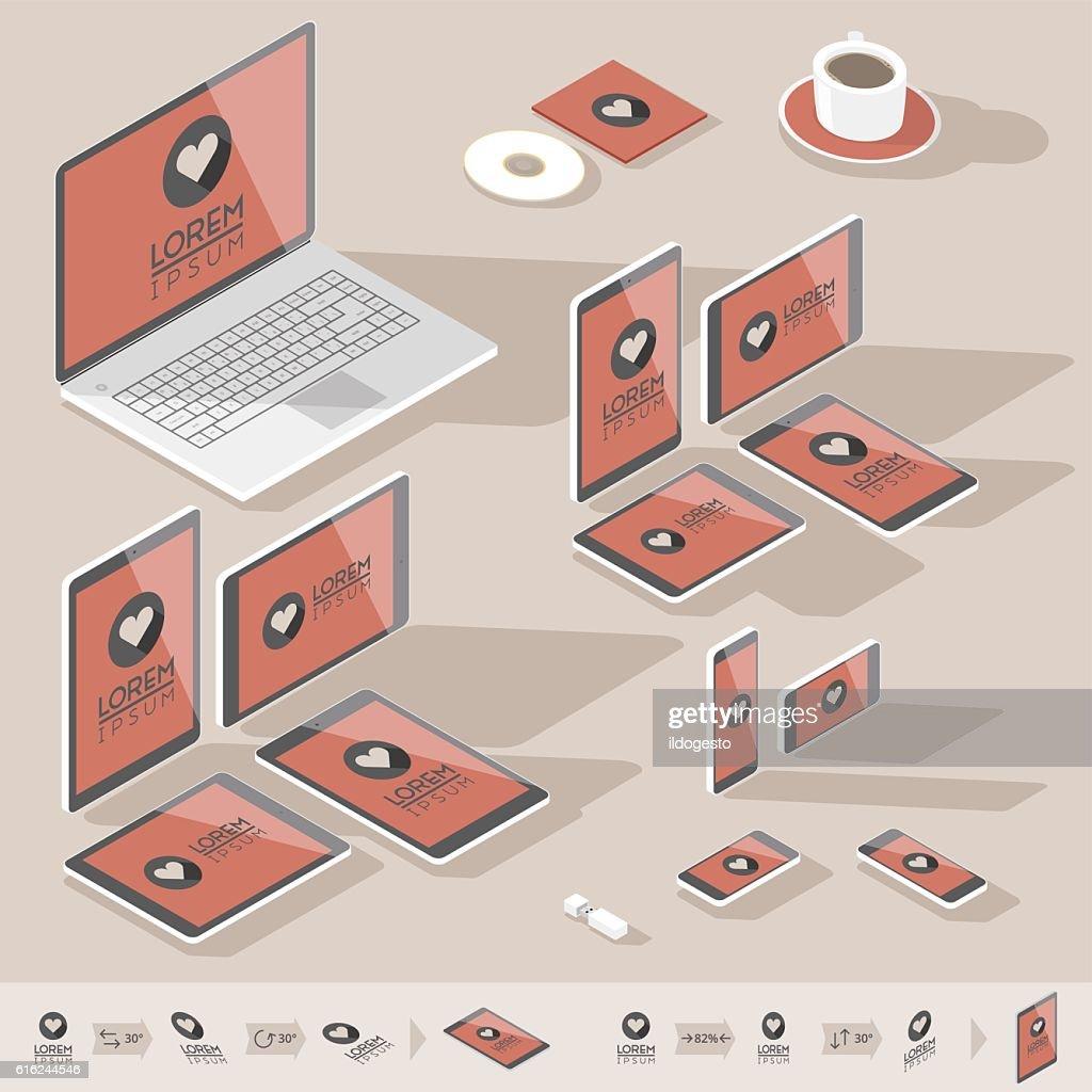 Isométricos de la identidad corporativa de plantillas : Arte vectorial