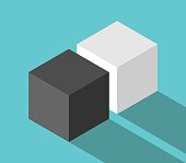 Isometric couple of different cubes, black and white, on turquoise blue background with long shadow. Love, friendship, partnership, difference, relationship and individuality concept. Flat design