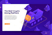 Isometric crypto mining concept web banner with truck. Concept of cryptocurrency mining with heavy machine. Vector Illustration with digital technology field.