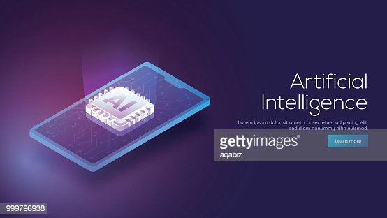 3D isometric design of a smartphone and emerging digital rays from AI processor chip for responsive Artificial Intelligence landing page concept. : stock vector