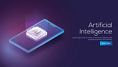 3D isometric design of a smartphone and emerging digital rays from AI processor chip for responsive Artificial Intelligence landing page concept.