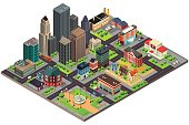 A vector illustration of Isometric Design of City Streets and Buildings