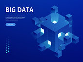 Isometric Digital Technology Web Banner. BIG DATA Machine Learning Algorithms. Analysis and Information. Big Data Access Storage Distribution Information Management and Analysis