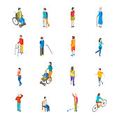 Isometric Disabled People Characters Icon Set Isolated on a White Background Blind Patient. Vector illustration of Disability Persons