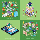 Isometric Educational Concept. Online Education, College Town, Graduation with Cap and Students. Vector 3d flat illustration