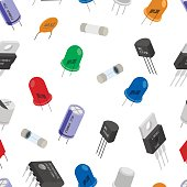 Seamless pattern background of Isometric Electronic components. Background of different Electronic components in isometruc style.
