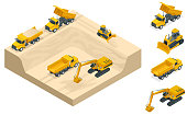 Excavators and bulldozers dig a pit on the sand quarry. A high-mining industry machinery technician involved in the extraction of sand. Isometric icon set vector graphic illustration