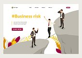Isometric fear and overcoming risks in business. Website Template Landing page.
