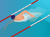 Isometric Fit Swimmer Training in the Swimming Ppool. Vector illustration Professional Male Swimmer. Health lifestyle