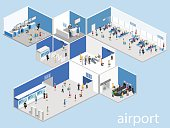 Isometric flat 3D concept vector interior of airport check-in, waiting hall, Security gates, ticket office, baggage carousel