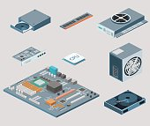 Isometric flat 3D isolated concept vector white computer Computer parts