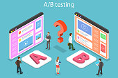 Isometric flat vector concept of AB testing, split test, A-B comparison, web development.