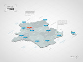 Isometric  3D France map. Stylized vector map illustration with cities, borders, capital, administrative divisions and pointer marks; gradient background with grid.