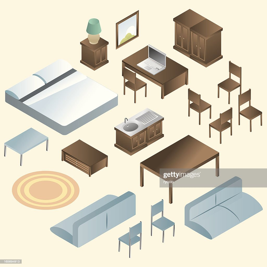 isometric furniture icons vector art getty images