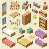 Vector set of isometric furniture on the beige background