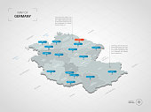 Isometric  3D Germany map. Stylized vector map illustration with cities, borders, capital, administrative divisions and pointer marks; gradient background with grid.