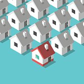 Many black and white isometric houses and a colorful one. Real estate, rent and home concept. Flat design. EPS 8 vector illustration, no transparency