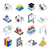 Isometric concept e-learning. 3d icons of online education with people reading books and using smartphones to read electronic books. Vector illustration.