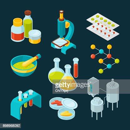 Isometrische Symbole Satz der pharmazeutischen Industrie und wissenschaftlichen Thema : Vektorgrafik