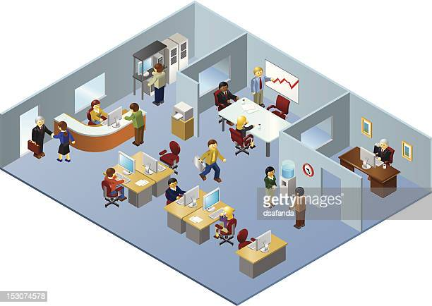 Isometric Illustration of People Working in Office Building