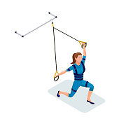 Isometric infographic 3d illustration with girl doing suspension workout with straps, ems fitness outfit, belts and other modern sports equipment