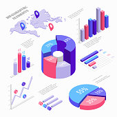 Isometric infographic elements with charts, diagram, pie chart, world map with pins and graphs with percent. Set of Isometric bar charts vector flat illustration isolated on white background