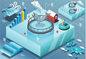 Detailed illustration of a Isometric Infographic of Sea Farmed Fish This illustration is saved in EPS10 with color space in RGB.