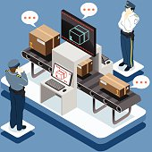 Detailed illustration of a Isometric Infographic Security Check This illustration is saved in EPS10 with color space in RGB.