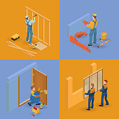 Isometric interior repairs icons set.  Workers, equipment and items. Builders in uniform, professional tools. Installing door, window, partition. Vector flat 3d illustration.