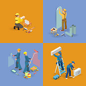 Isometric interior repairs icons set.  Workers, equipment and items. Builders in uniform, professional tools. Installing conditioner, decorators, laying tile. Vector flat 3d illustration.