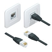 Isometric Vector network socket icon. LAN cable network internet