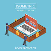 Isometric 3d flat laptop computer protected by firewall, guard and password security system, internet security and anti virus protection concept