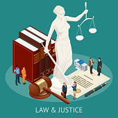 Isometric Law and Justice concept. Law theme, mallet of the judge, scales of justice, books, statue of justice vector illustration