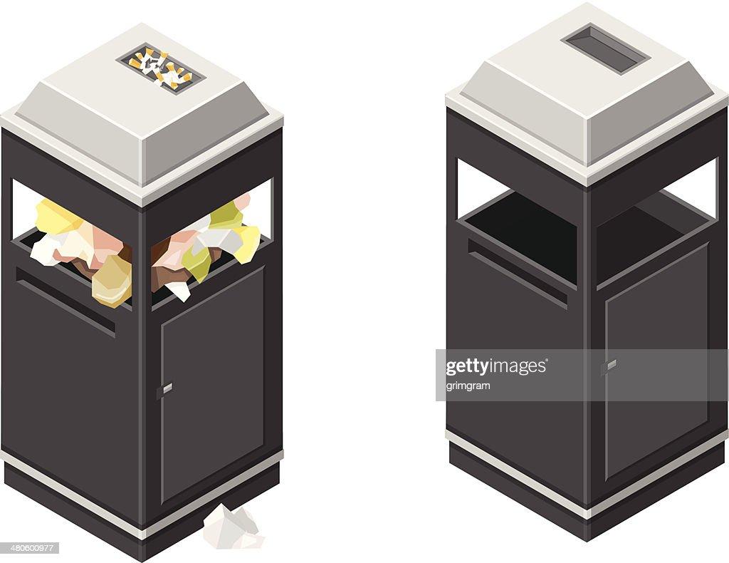 Isometric Litter Bin and Trash : Vector Art