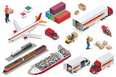 Isometric Logistics icons set of different transportation distribution vehicles, delivery elements. Air cargo trucking, rail transportation, maritime shipping Vehicles designed to carry large numbers