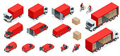 Isometric Logistics icons set of different transportation distribution vehicles, delivery elements. Cargo transport isolated on white background