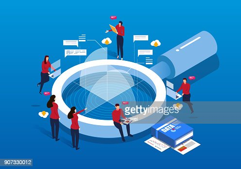 Isometric magnifying glass and Data Analysis : Vector Art
