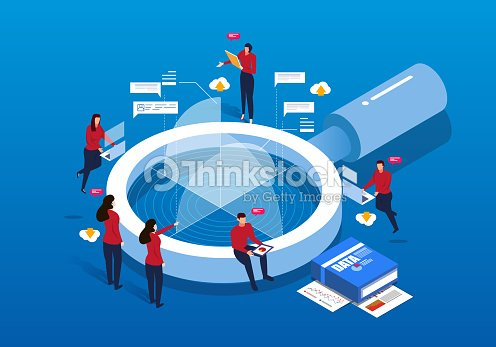 Isometric magnifying glass and Data Analysis : stock vector