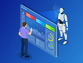 Isometric Maintenance engineer working with digital display. Robot programming concept. Artificial intelligence horizontal banner. Vector illustration