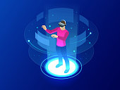 Isometric Man wearing goggle headset with touching vr interface. Into virtual reality world. Future technology. Vector illustration