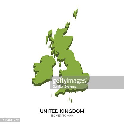 Isometric map of United Kingdom detailed vector illustration : Vector Art