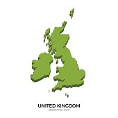 Isometric map of United Kingdom detailed vector illustration. Isolated 3D isometric country concept for infographic