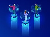 Isometric men and a woman wearing goggle headset with touching vr interface. Into virtual reality world. Future technology. Vector illustration