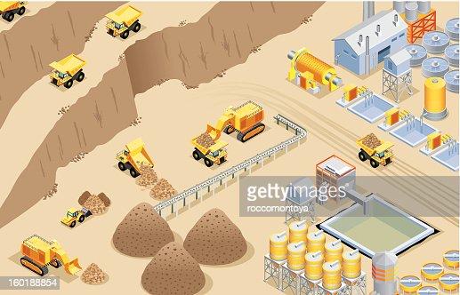 Isometric mining : Vector Art