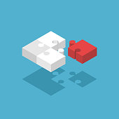 Four isometric puzzle pieces, three white and one red on blue background with drop shadow. Teamwork, cooperation, leader and solution concept. Flat design. Vector illustration. EPS 8, no transparency