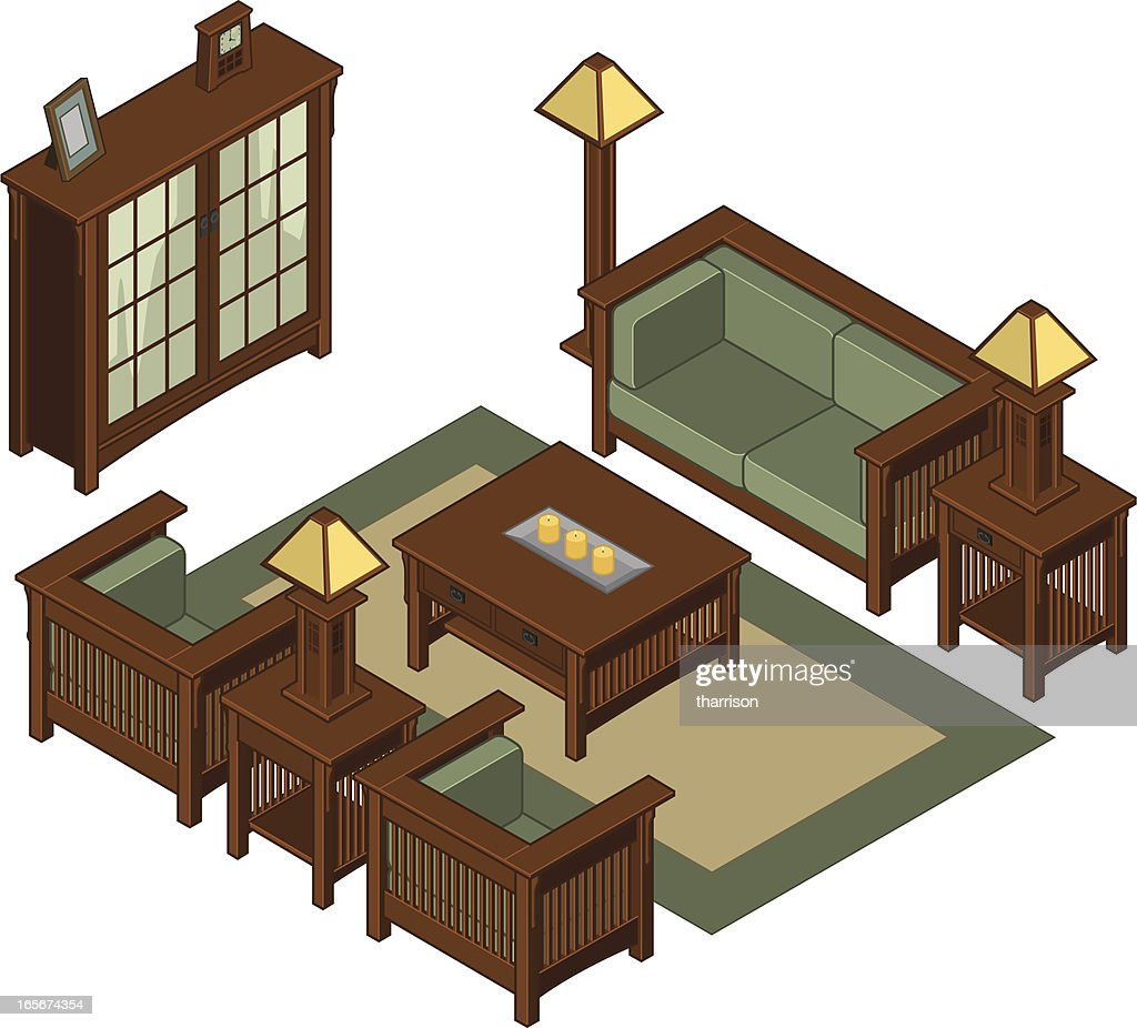 Isometric Mission Living Room Furniture Vector Art | Getty Images