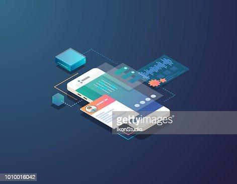 Isometric mobile development illustration : stock vector