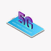 Isometric mobile phone and 5G network. Fast and new fifth network technology banner. 3D isometric modern mobile phone. Smartphone with 3D letters inside. Trendy gradient and isometric vector.