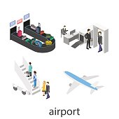 Isometric object of airport